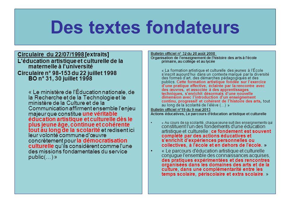 Des textes fondateurs Circulaire du 22/07/1998 [extraits]